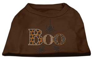 Boo Rhinestone Dog Shirt Brown Lg (14)